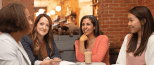 Meeting of four Women at a Restaurant